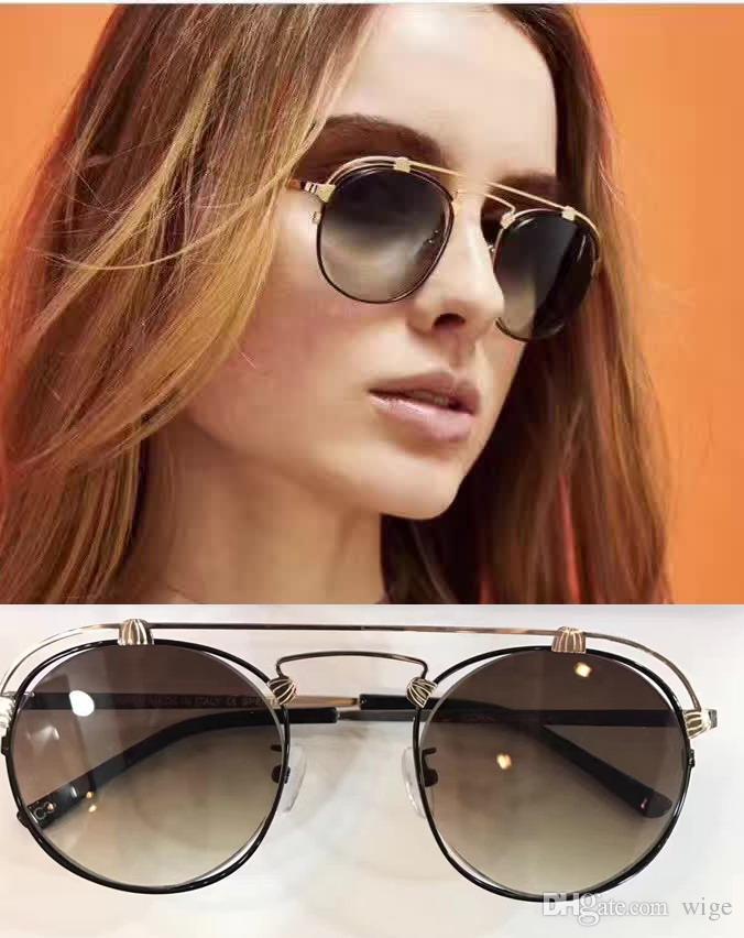 6fe2a48adc5c38 Women Designer Spektre Coral Sunglasses Gold Black Brown Gradient ...
