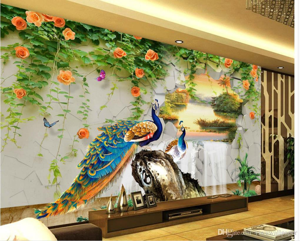 New Custom 3d Beautiful Peacock Three Dimensional Landscape Painting With Background Wall Movie Wallpapers Moving From Yiwuwallpaper
