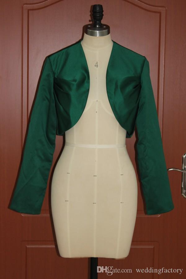 Dark Green Women's Wrap Shrugs Satin Wedding Party Elegant Modest Bolero Long Sleeve Mini Bridal Jacket Cheap High Quality