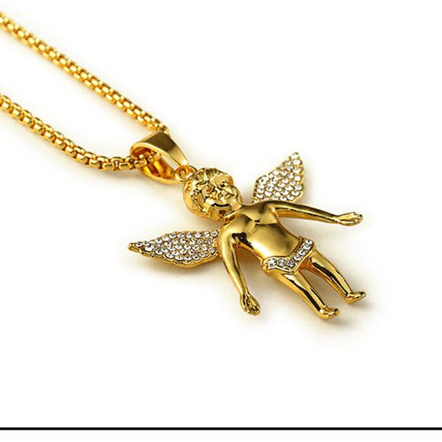 Wholesale-2015 New Fashion Kaulakoru 24K Gold Plated 80CM Chain Hip-hop Angel Necklace Jewelry Trendy Cool Men Hiphop Pendant Necklaces