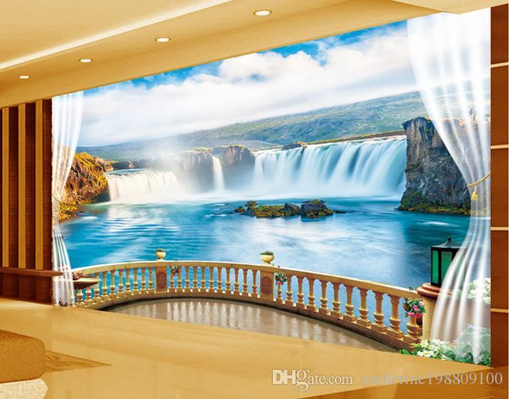 Custom any size waterfall tv wall mural 3d wallpaper 3d for Custom size wall mural