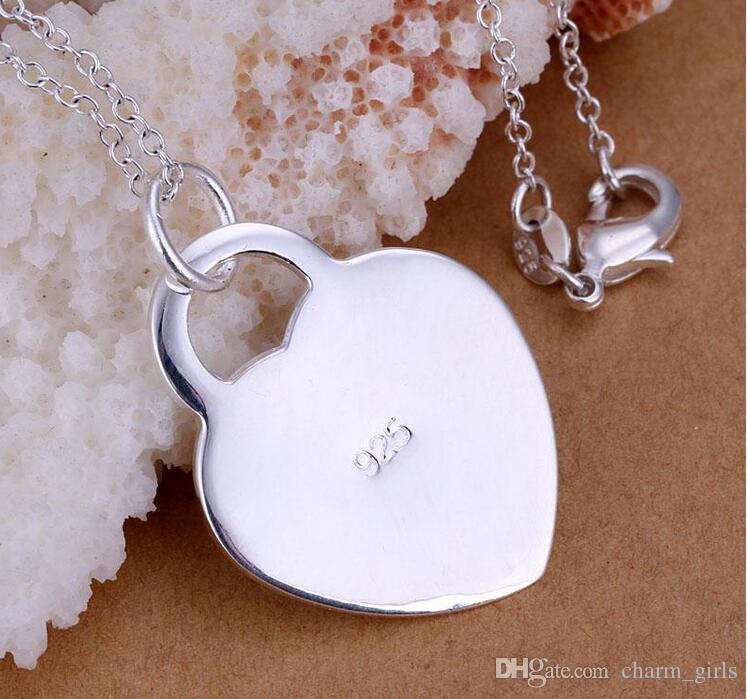 Chapeamento de 925 Sterling Silver Banhado A 925 Pingente de Coração 3.5 CM * 2.4 CM Pingentes Encantos Jóias de Alta Qualidade Fit Pulseira Colar