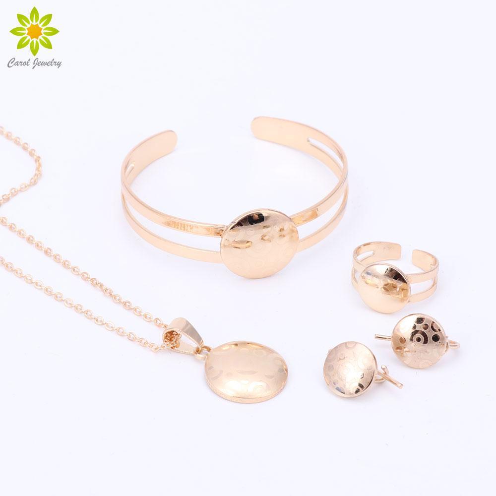 Children Gold Plated Pendant Necklace Earrings Bracelet Ring