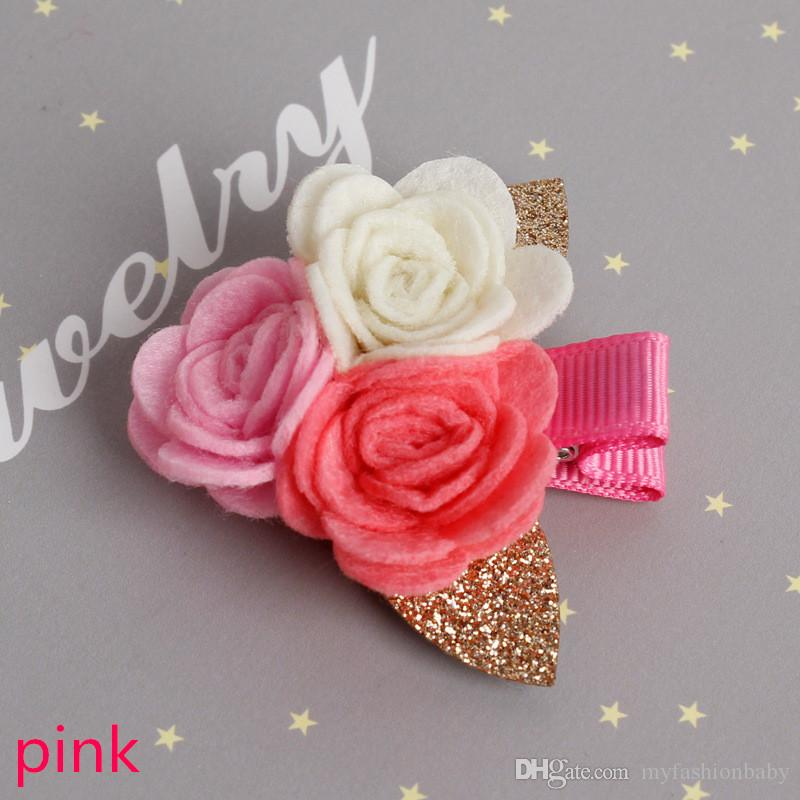 2017 The new Spring baby hairpins 3 Roses clips Non woven fabric Hairpins Barrettes Hair Accessory the flower hair clips