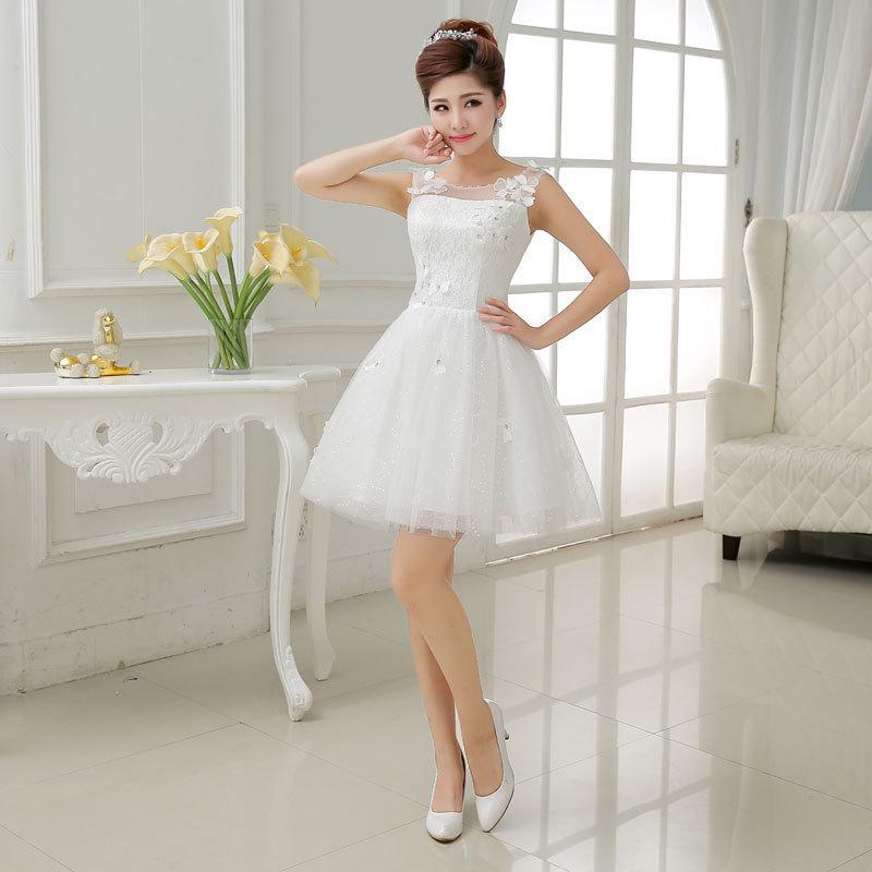 Us2 Us10 2017 New Fashion Sleeveless White Color Short Bridesmaid ...