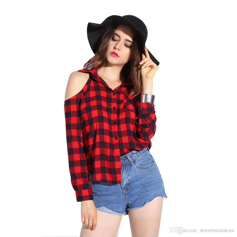 a90771239ab 2019 Plaid Blouse Cold Shoulder Women Sexy Top Checked Shirts Red Checkered  Chemise Femme Long Sleeve Ladies Tops Casual Shirt Women From  Streetwearstore