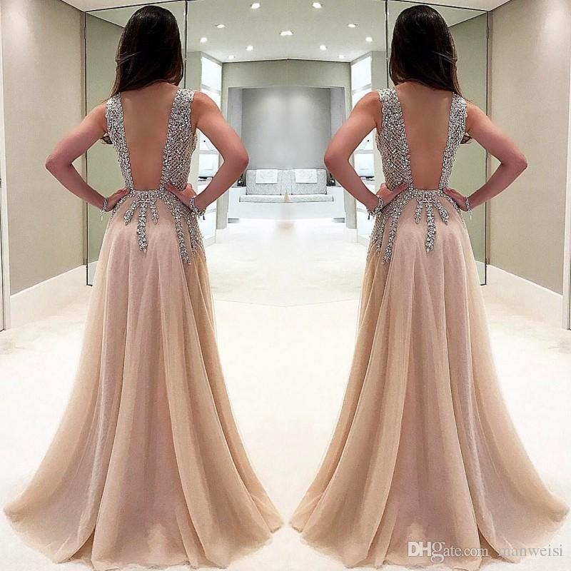Выпускные платья с бисером и бретельками Длинные кристаллы Глубокий V-образным вырезом A Line Вечерние платья Формальное тюль Плюс Размер Платье