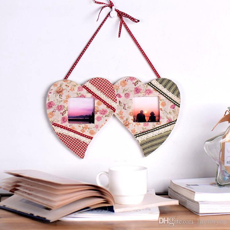 Love Heart Flower Pine Wooden Picture Frames Photo For Lovers Frames ...