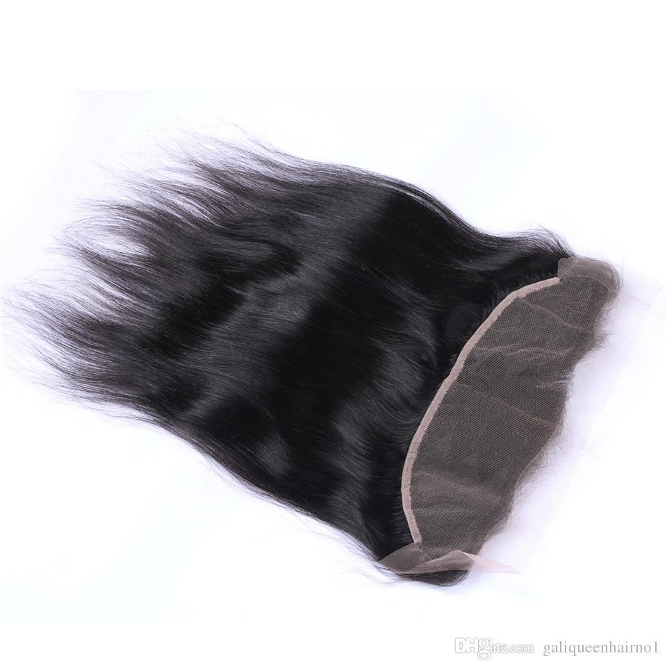 브라질 스트레이트 헤어 13x4 귀에 귀에 Pre Plucked Lace 정면 폐쇄 아기 머리 레미 인간의 머리카락 무료 파트