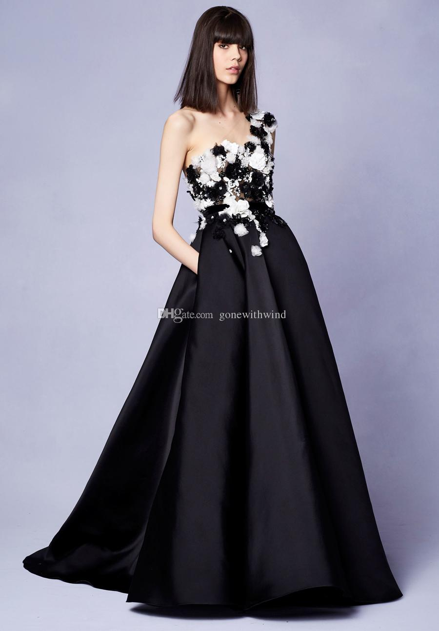 Marchesa Resort 2018 Collection Black Long Evening Gown With Floral ...