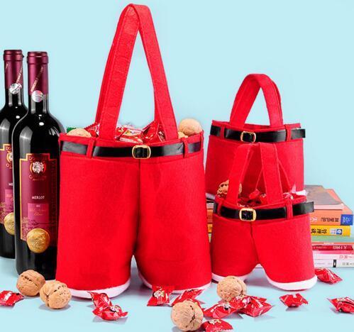 Herde frei DHL Santa Hosen Stil Weihnachten Candy Taschen Weihnachtsgeschenk Tasche Decoracion Navidad festliche Hochzeit Lieferungen Santas Hosen Stil