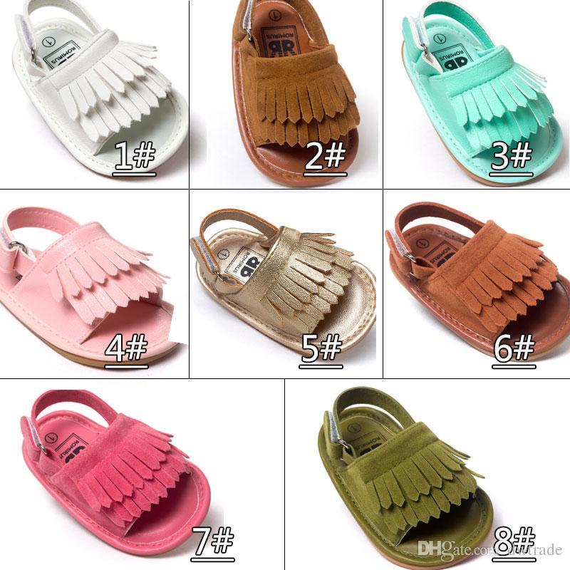 Yaz bebek moccasins Püsküller çocuklar bebek ayakkabı çocuk sandalet ilk yürüteç ayakkabı erkek kız ayakkabı 2017 yeni tasarlanmış Multy Renk