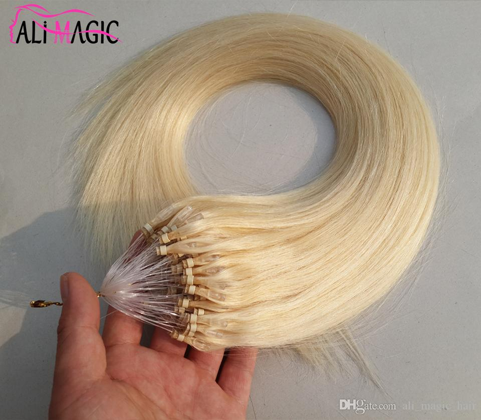 Remy Micro Loop Hair Extensions Cheap Human Platinum Blonde Brazilian Straight Hair Wholesale 1g 100s Micro Loop Free Extensions