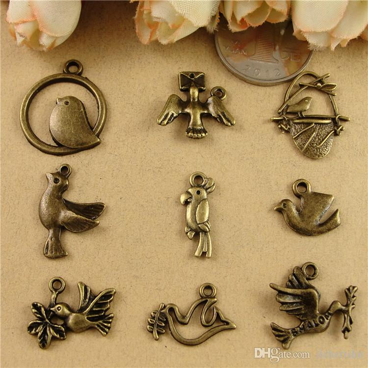 DIY accessories Beaded material Zakka retro Ancient Bronze nest Bird Pendant, swallow peace dove charms pigeon, fashion antique brass charms