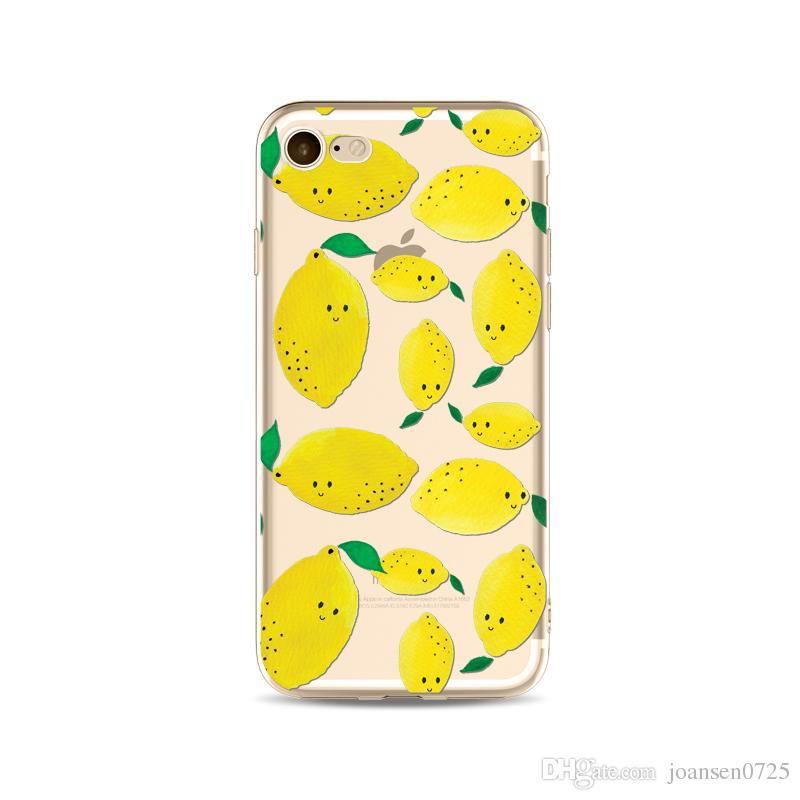 Summer Fruits Lemon TPU painting cell phone case For iphone 7 case ultra thin soft slim silicone back cover shell for iphone 6S 7 Plus