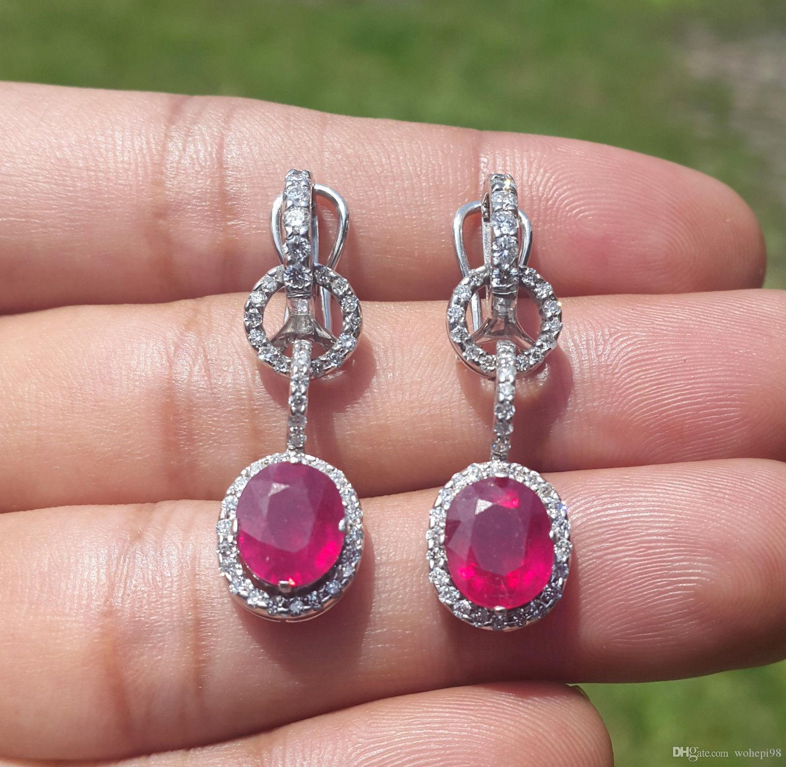 natural with diamonds ruby ct itm sterling in gold and earrings silver
