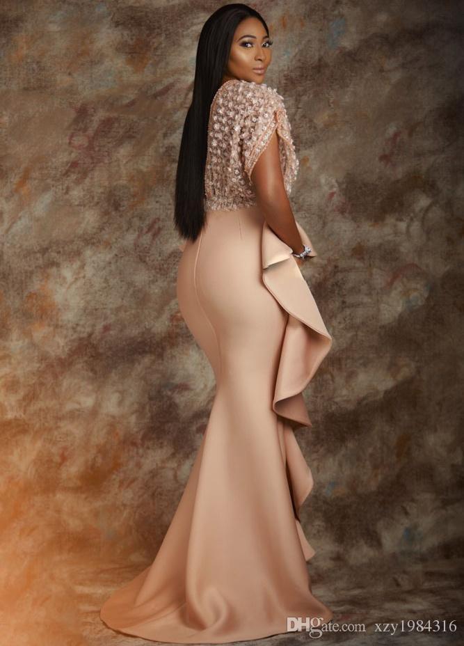 Lüks Denizkızı Örgün Abiye Giyim Derin V-Yaka Çiçek Aplike Boncuk Kısa Kollu Gelinlik Modelleri Seksi Şık AsoEbi Ünlü Parti Elbiseleri