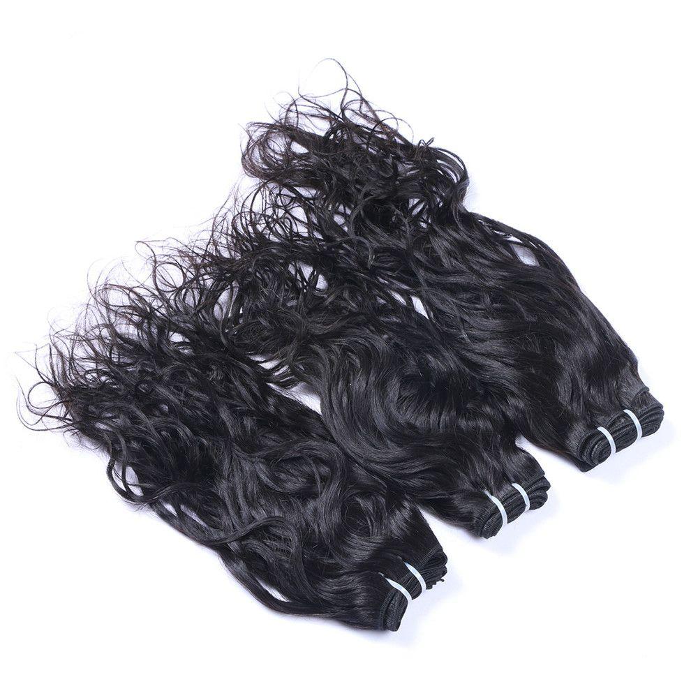 브라질 인간의 머리카락 웨이브 헤어 웨이브 레이스 클로저와 젖은 및 물결 모양의 머리카락 번들과 함께 자연 웨이브 레이스 Clsoure