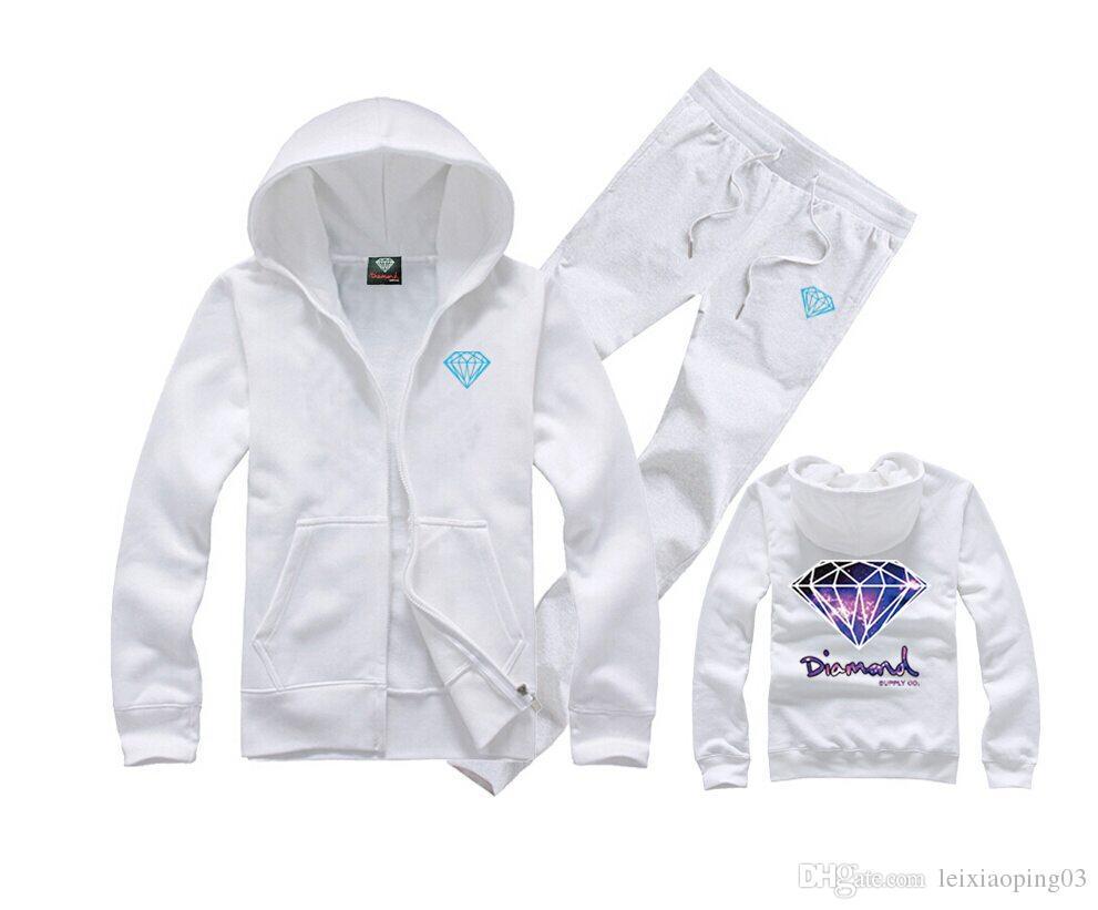 Moda impresa Diamond Supply Co Men Fleece Hoodies sudadera skate marca hip hop suelta código grande impreso