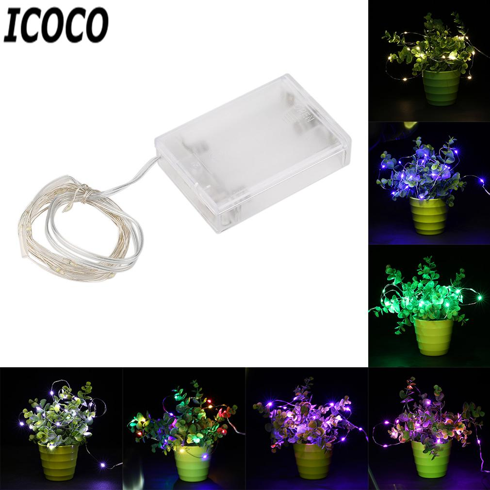 All'ingrosso- ICOCO 5M 50 LED Silver Wire String Light Fairy Lamp Christmas Holiday Wedding Party Decor Illuminazione 3AA Battery Operated Lights