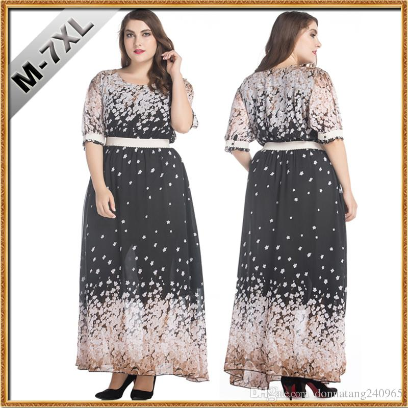 d4b0bfd1ad0cc 2019 Plus Size Womens Elegant Chiffon Clothing Floral Printing Maxi Long  Dress 7XL Big Size Dress Women Clothes From Donnatang240965