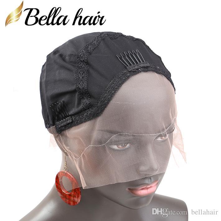 Парик шапки для изготовления человеческих волос кружевные парики с регулируемым ремешком и гребнями дышащая мягкая кожа шапки черный цвет средний Белла волос