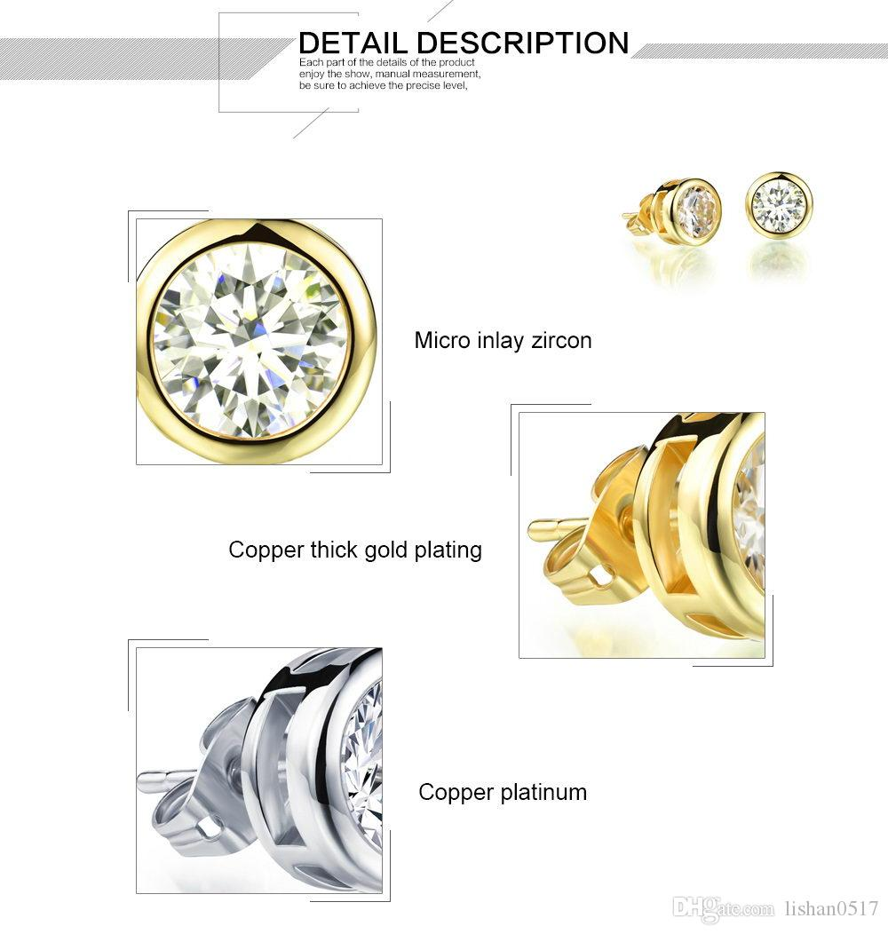 Gold Plated Woman Zirconia Crystal Stud Earring Platinum Plated Jewelry Cheap Price Wholesale Allergy