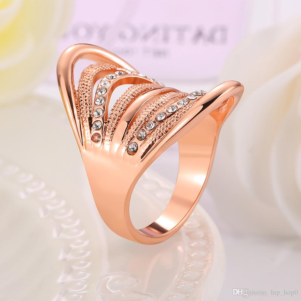 Statement Crystal Jewelry 18k Real Gold Plated Inlaid Rhinestone Ring Women Party Fashion Geometric Ring Rose Gold Jewelry Christmas Gift