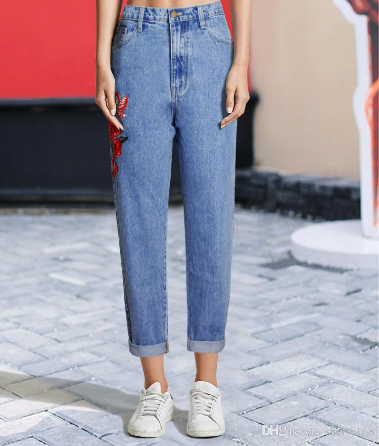 1741cb68b9076 2019 High Waisted Boyfriends Mom Jeans With Embroidery 2017 Autumn Womens  New Vintage Denim Pants Jeans For Women Fashion Blue Jean Trousers From  Sherry168