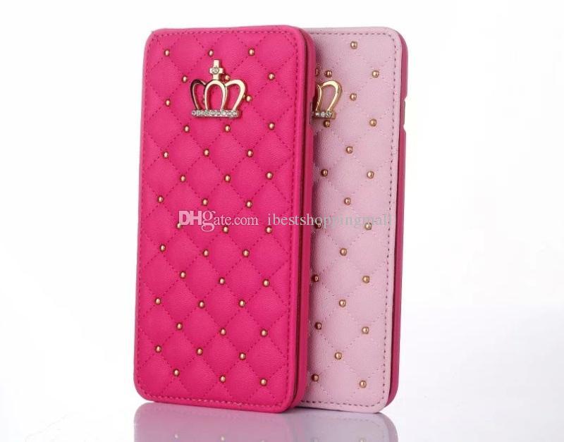 Rivet Glitter Diamond Crown Etui portefeuille en cuir avec cadre photo Flip Cover pour iPhone X 8 7 6 S Plus Samsung S9 S8 Plus Note8 S7 bord