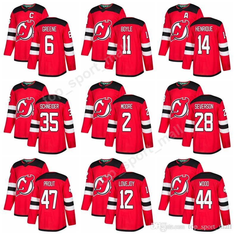 Best New Jersey Devils Jerseys 2018 New Hockey 6 Andy Greene 11 Brian Boyle 14  Adam Henrique 35 Cory Schneider 2 John Moore 28 Damon Severson Under  25.12  ... 98e7211e2