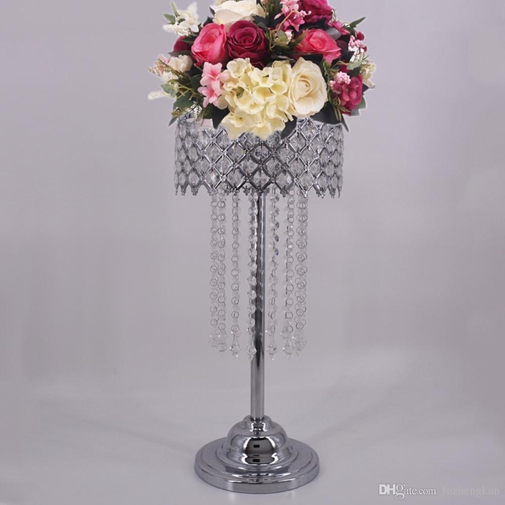 Silber Crystal Road Blei 59 cm Höhe Requisiten / Wedding Table Party Herzstück Blumen Halter Stand Home Decor 4 Teile / los