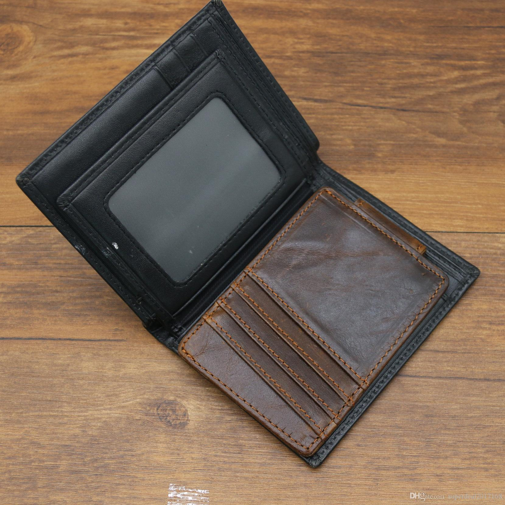 Genuine Leather Mini Vintage clutch Wallet Clamp for Money Clip Front Pocket Men's Wallet Card holder Portfolio Men with Magnetic buckle