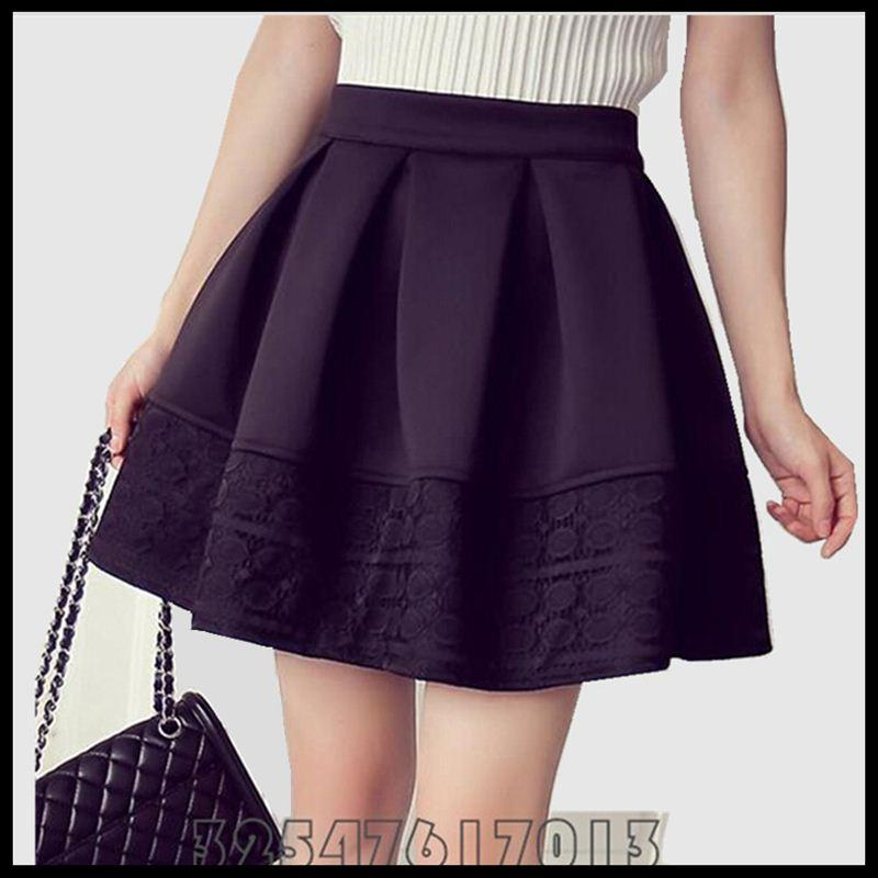 58ef74e9c 2019 Woman 2015 Skirt Autumn Winter Fashion High Quality High Waist Short  Space Cotton Lace Stitching Black Pleated Skirts Big S XXL From Bichung, ...
