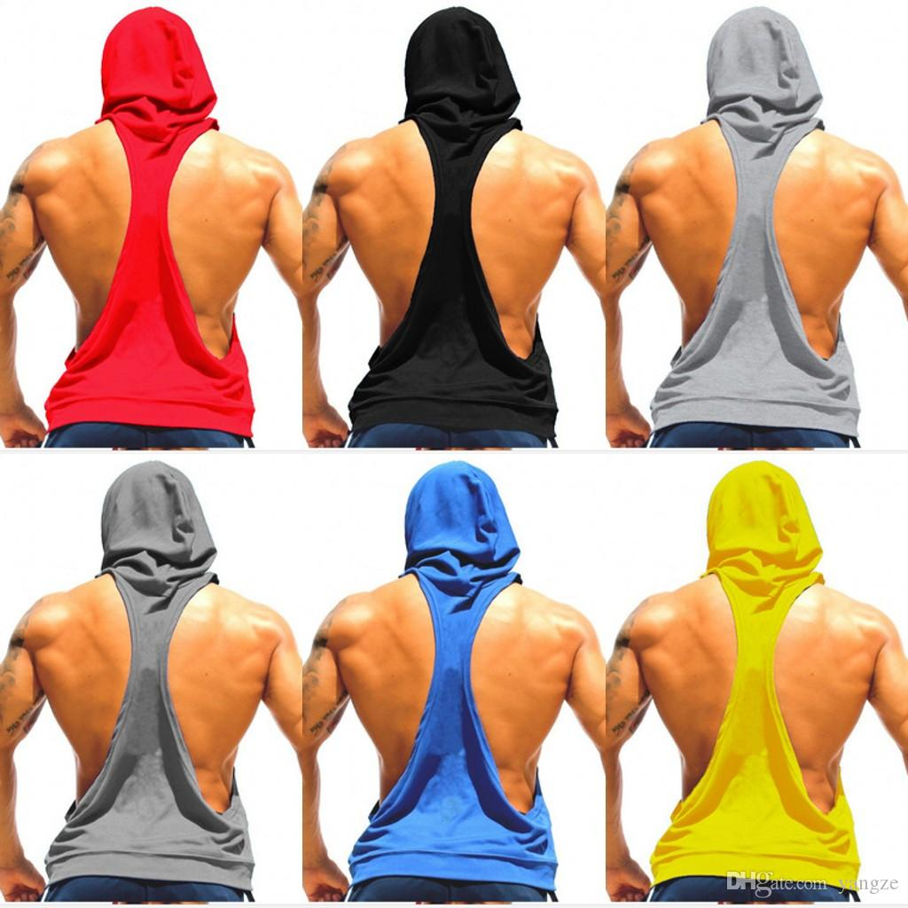 Men Vest Hoodies Cottone Stringer Blank Bodybuilding Hoodies Sleeveless Sport Undershirt For Men Gym Fitness Tank Tops Free Shipping MY9022