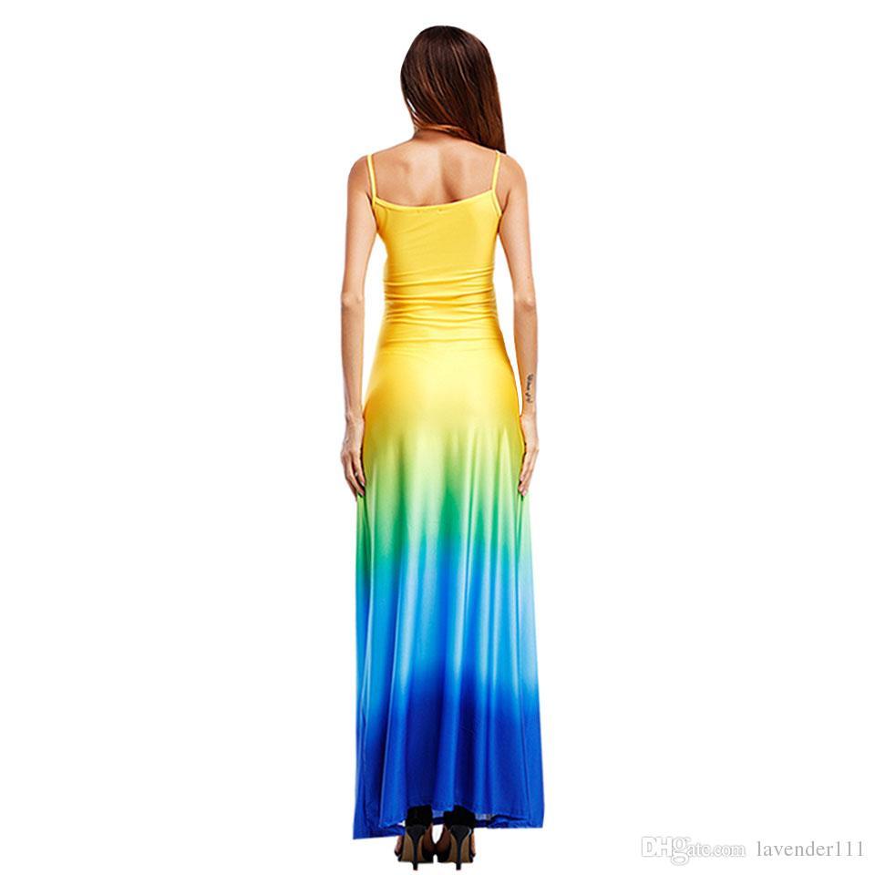 Women Beach Dress Maxi Long Dress Boho Casual Summer Wedding Evenings Party Sleeveless Gradient Patchwork Orange Blue