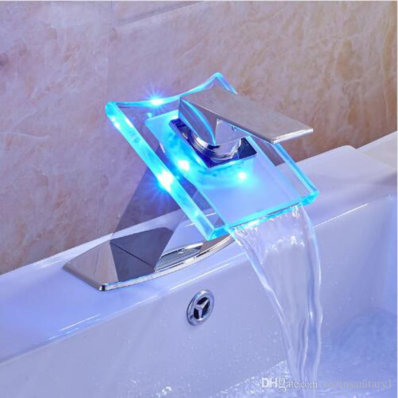 Bathroom Faucet Plate 2017 led light changing bathroom sink faucet waterfall outlet with