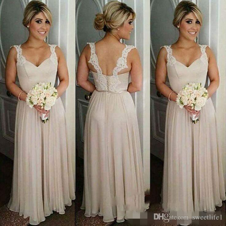 57babd60fa3 2017 Elegant Long Chiffon Bridesmaid Dresses With Lace Straps Floor Length  A Line Tiered Back Zipper Custom Made Formal Party Gowns Ivory Bridesmaid  Dress ...