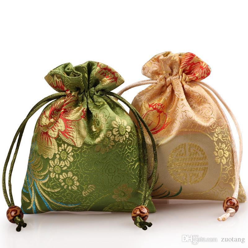 Jacquard Chrysanthème Pivoine damas sacs-cadeaux chinois Drawstring brocart de soie Petite pochette bijoux pochette de rangement en tissu Emballage Sacs