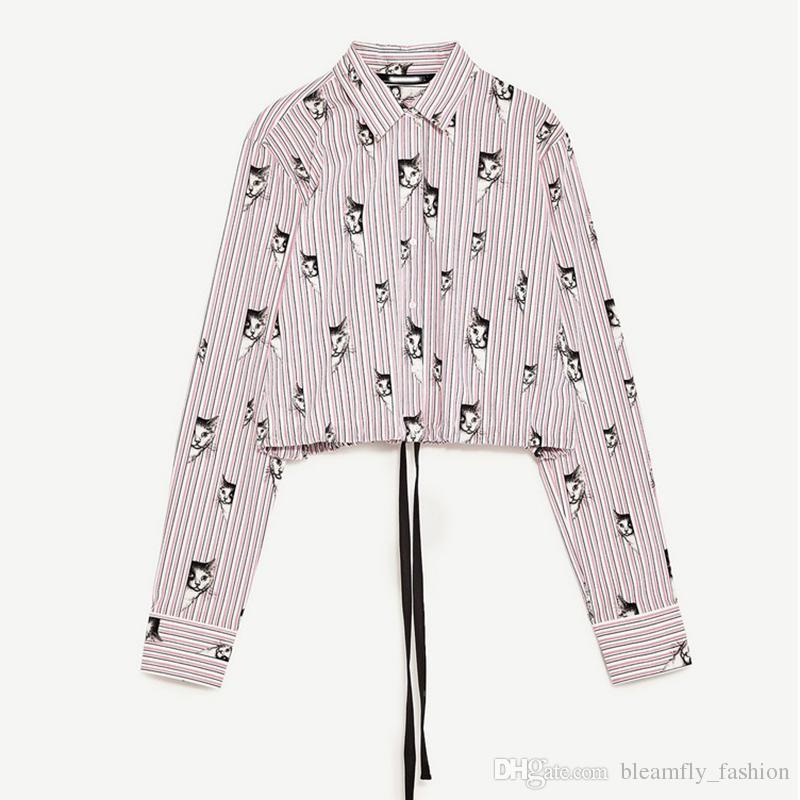 2017 Summer Women Striped Blouse And Tops Elegant Sexy Boho Long Sleeve Shirt Printing Cat Blouses Plus Size Blusas Femme