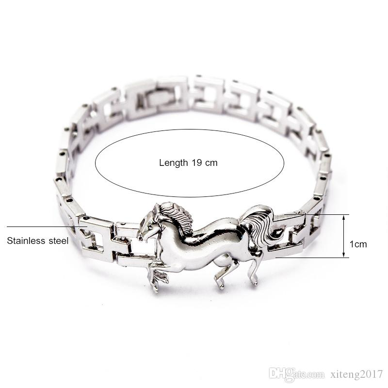 New fashion high quality stainless steel jewelry silver plating chain animal bracelets for women running horse charms bracelet fit gifts