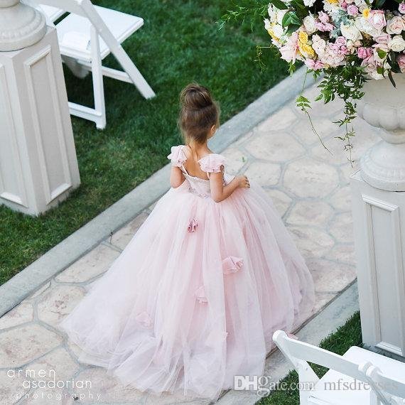 New Princess Pink Colorful Puffy Ball Gown senza maniche brevi Flower Girl Dresses Girls Pageant Dress Ragazze Birthday Cupcake Party Dresses