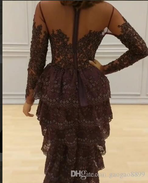 Sexy Formal Evening Dresses 2017 New Jewel Long Sleeve Zipper Back Tiered Tea-length Lace ridesmaid Party Queen Gowns DTJ