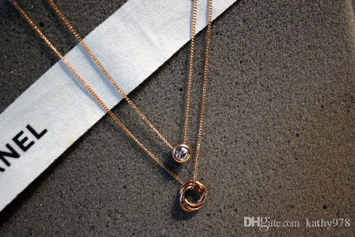 venta al por mayor la nueva joyera pendiente de las mujeres pendientes del collar de la cadena doble clavcula de oro de la nueva llegada del zircon del