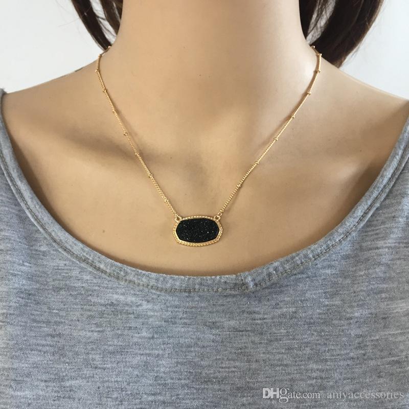 11 Kolory Pozłacane słodkie Faux Quartz Owalne Wisiorek Geometryczne Żywica Druzy Choker Naszyjnik Biżuteria dla kobiet