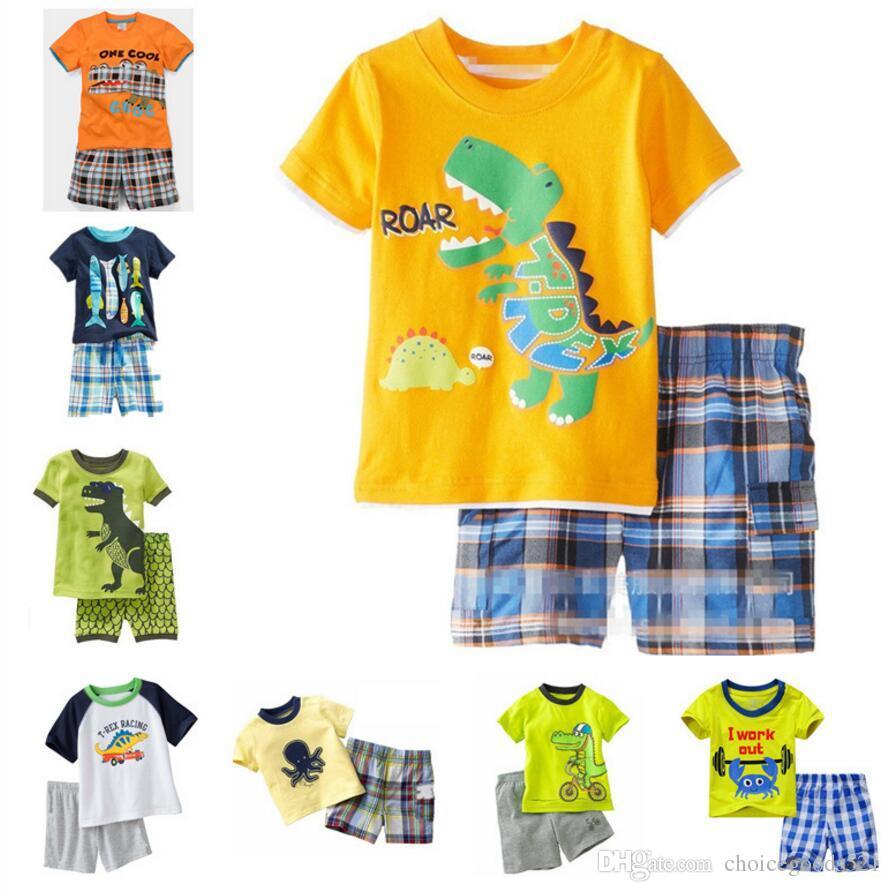 3590cf2d1 Baby Pajamas Summer Boys Pajamas Short Sleeve Cotton Pajamas Shirt+ ...