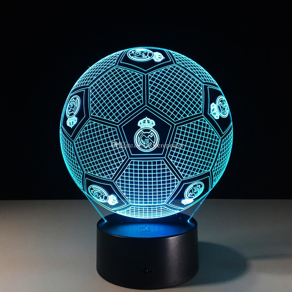 Madrid Football Style 3D Optical Illusion Lamp Night Light 7 RGB Lights DC 5V USB Charging 5th Battery Dropshipping