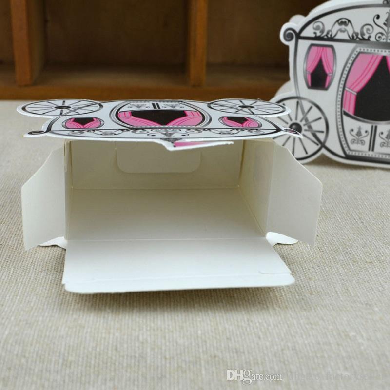 Al por mayor-/ romántico cuento de hadas favores regalos Baby Shower boda caja de dulces Cenicienta calabaza carro de la boda decoración de la boda