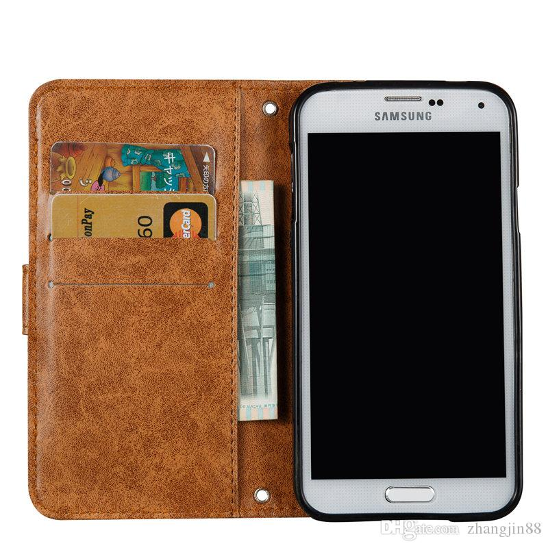 For Samsung Galaxy S5 G900F Case - Luxury PU Leather Solid color Wallet Case Shockproof Cover with Stand Flip Case