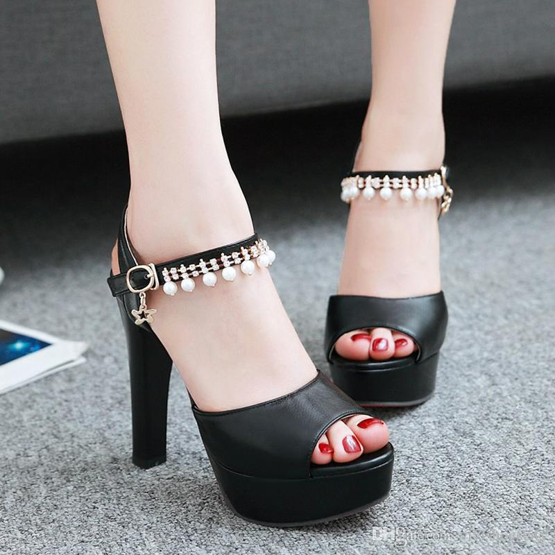 aadeaa52f75 Plus size 34 to 40 41 42 43 Fashion pearls chain thick heels wedding shoes  white pink lavender black
